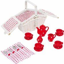 PICKNICKKORB WEIß Kinder Teeservice Kaffeeservice Spielküche Kinderküche SET NEU