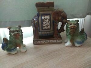 Chinese Ceramic Foo Dogs And Elephant