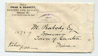 1870s Portland ME Eastern Express boxed stampless marking on cover [4901]