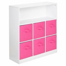 Wooden White 7 Cubed Cupboard Storage Unit Shelves 6 Dark Pink Drawers Baskets