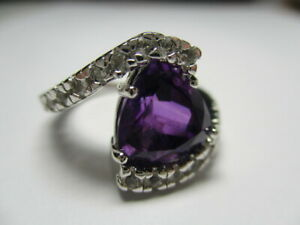 STERLING SILVER ROSS SIMONS TRILLION PURPLE AMETHYST CUBIC ZIRCONIA RING SIZE 6