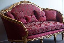 Elegante divano francese POLTRONA DIVANO SET-Luigi XV oro antico damasco rosso bordeaux
