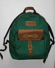 JANSPORT Backpack Vintage 90s Suede Leather Accents Green USA Made Excellent!