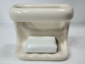Beige Bone Almond Ceramic Soap Dish Tray Cloth Holder Grab Bar Classic Color 006