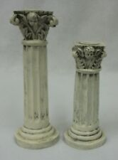 Vintage White Fluted Pillars Corinthian Columns with Cherubs Candle Holders