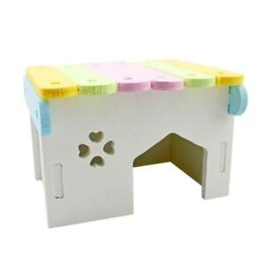 Colorful Wood Pet Nest Bed Hut House Hamster Squirrel Rabbit Climb Chew Toy