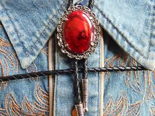 NEW  RED ABALONE  BOLO BOOTLACE TIE ANTIQUE SILVER METAL LEATHER CORD WESTERN