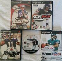 Madden 02, 04, 06, NFL 2K3 & NFL Gameday 2003 Football Bundle (PS2) Free Ship