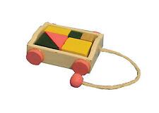 SCALA 1:12th Pull lungo in legno giocattolo mattoni Doll House Miniature Nursery Trolley Giocattolo