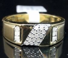 Men's New Designer 10k 100% Yellow Gold Genuine Real Diamond Ring Band 7MM SZ 10
