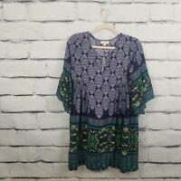 Umgee Womens Size Small Dress Boho Oversize Bell Sleeves Geometric Print