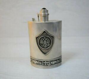 Antique Hand-made Silver Plated Royal Russia Flask Bottle
