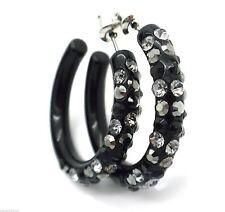 """New Crystal Hoop Earrings Black Grey Silver Plated Crystal Women Pierced 1.25"""""""