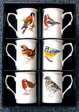 Garden Birds Bone china mugs -set of 6 boxed Robin,wren,bluetit,goldfinch,thrush