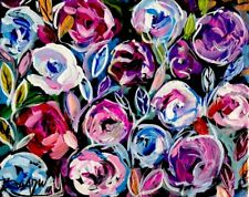 Broadway Original Abstract 8x10 in Stretched Canvas Colorful Floral painting