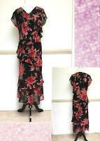 Womens Portobello Dress Size M Black Red Floral Flounce Lined Tiered Party