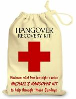 Personalised Party Hangover Kit Cotton Gift Bag Wedding Favours Stag & Hen Do