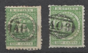 Lot of 2 - QV British Guiana 1863 24 cent - Green - Used