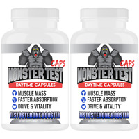 Monster Test Capsules Testosterone Booster w Tribulus All Natural For Men 2-Pack