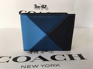 Coach - Slim Billfold Wallet in Patchwork Leather (Azure) 75285 NWT