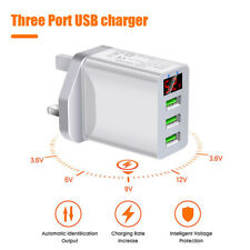 ABS Portable 3 Ports USB Smart Charger Digital Display 5V 3.1A Adapter UK Plug