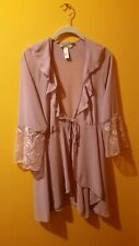 Delicates Lavender Sheer Robe With Embroidered Open Lace Sleeves Medium