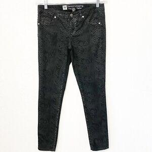 Mossimo new Womens Blue//Green Animal Snake Print Curvy Skinny Denim Jeans sz 4
