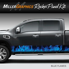 Flames Fire (Blue) Rocker Panel Graphic Decal Wrap Kit for Truck SUV