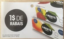 Lot of 10 x 1.00$ LIBERTE GREC Products Coupons Canada