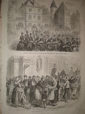 Franco prussienne guerre Belgique Namur alimentation soldats français 1870 Old Print Ref Z3
