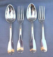 French Empire Napoleonic Pair Dinner Fork Spoon Sterling Silver Uni Plat Rooster