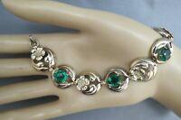 Art Deco Bracelet PR ST CO 12K on Sterling Silver Green Oval Rhinestones Flowers