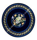 """36"""" Round Marble Black Dining Table Top Inlay Marquetry Art Hallway Decor H5145A"""