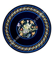 """30"""" Modern Marble Black Round Coffee Table Top Lapis Marquetry Inlay Decor H5145"""