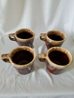 4 Vintage Hull Brown Drip Pottery Mugs USA Oven Proof Set Lot of 4 Cups