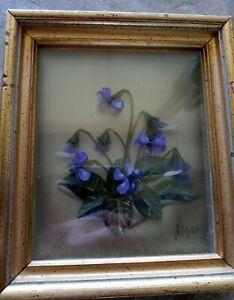 Original 3 D Oil Painting Violets Edmond J Nogar Signed No. V-1297