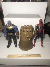 "Marvel Avengers Infinity War Titan Hero Thanos Iron Spider 12"" & Gauntlet Used"