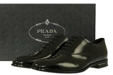 NEW PRADA BLACK SMOOTH LEATHER OXFORD LOGO  DRESS CASUAL SHOES 10/US 11
