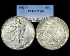1943 D LIBERTY WALKING HALF ~ PCGS MS 66