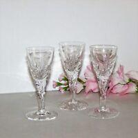 """STUART CRYSTAL ELLESMERE 3 CORDIAL GLASSES 4 1/8"""" VINTAGE GOBLETS CUT FERN LEAF"""