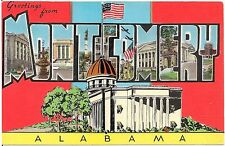 Greetings From Montgomery AL Large Letter Linen Postcard