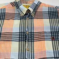 Duck Head Men's Short Sleeve Button Up Shirt XL Multicolor Plaid One Pocket Bold
