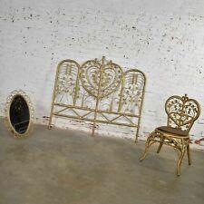 Hollywood Regency Bohemian Bedroom Trio Gold Wicker Headboard Heart Chair & Mirr