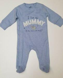 Baby sleepsuit babygrow NXT cotton boys sky blue I LOVE MY MUMMY slogan