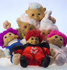 Vintage Troll Lot of 6 Plastic Toy Doll Costumes Plush Russ Ace Novelty Rare Htf