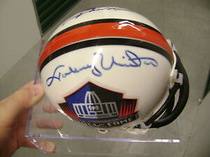 Johnny Unitas Frank Gifford Auto Pro Football HOF Helmet Baltimore Colts Giants