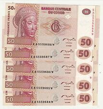 CONGO UNC 50 FRANCS 1997 neuf tout neuf 5 billets de disponible prix pour un bil