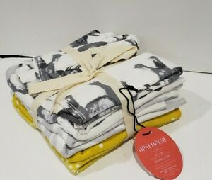 Opalhouse Target 6 Pack Washcloths Gray Elephant Stripe Yellow Dot NEW Washcloth