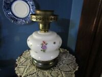 Vintage Hand Painted Floral Milk Glass Lighted Lamp Base