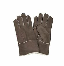 Mens Shearling Leather Gloves Taupe Brown Fleece Lined by Quintessential